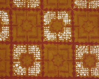 Batik sarong fabric from Indonesia-- red and tan squares