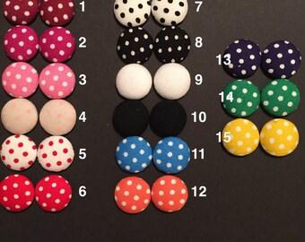 Button - Polka Dot - Earrings