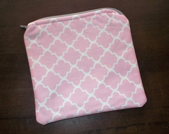 Pink Zipper Pouch, 7x7, Pink Lattice Pouch, Lined Pouch, Padded Pouch, Make-Up Pouch, Make-Up bag, Pink Gray Pouch, Pink Make-Up Bag, RTS