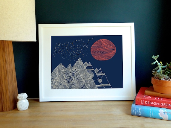 Mountains & Moon Archival Print