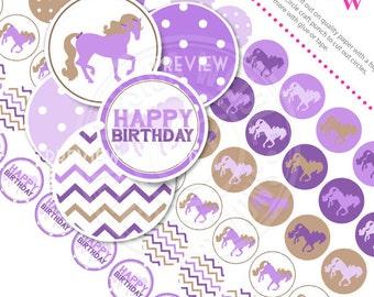 Purple Pony Printable 1 Inch Circles, Bottle Cap Circles, Printable Circles, Printable Candy Circles, Purple Pony Party, Confetti, Download