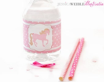 Pink Pony Printable Water Bottle Wrappers, Cowgirl Western Party Bottle Labels, Instant Download, Pony Party Printable, Horse, Western