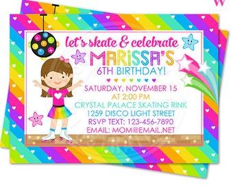 Rainbow Rollerskate Printable Birthday Invitation, Custom Girls Roller Skate Invitation, Printable Invitation, Rainbow Birthday Invitation