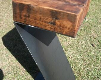 16-24 bar stool made of wood restored on leg of steel beam