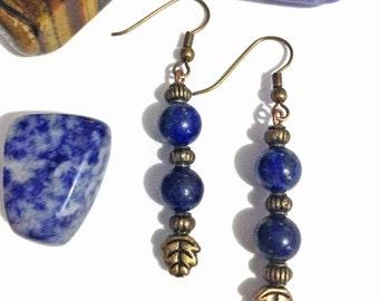 Lapis lazuli bronze earrings