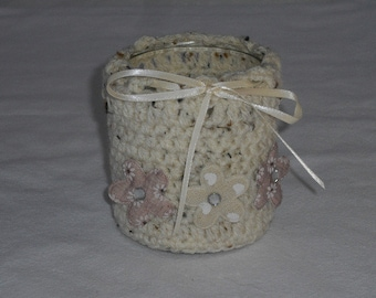 Tea light lanterns - crochet and decorated - home decor - candle - candle
