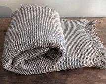 Linen Blanket, Checked Linen Coverlet, Linen Throw, Waffle textured linen blanket, Natural Blanket, Grey Blanket by Linenbee