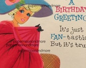 Vintage Birthday Card, Pink, Feathers, 1960s