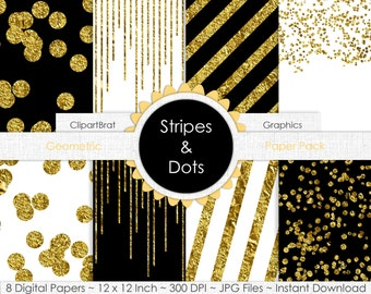 GOLD FOIL CONFETTI Dots & Stripes Digital Paper Pack Commercial Use Digital Background Papers Black White Gold Digital Paper Party Printable