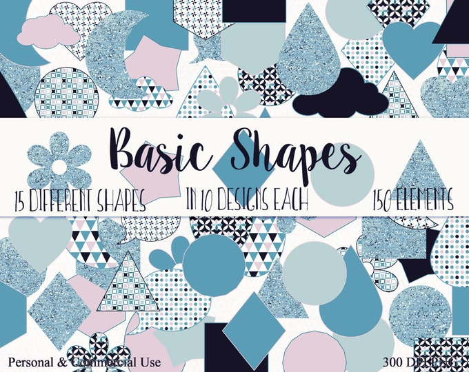 FUN SHAPES CLIPART Commercial Use Clip Art Blush Pink & Blue Glitter Circle Star Triangle Hexagon Planner Sticker Clipart Shape Graphics