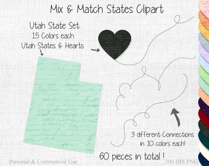 UTAH STATE to STATE Clipart Commercial Use Clipart Mix & Match States Home Town Clipart Utah Map Utah Heart Map Home State Wedding Clipart