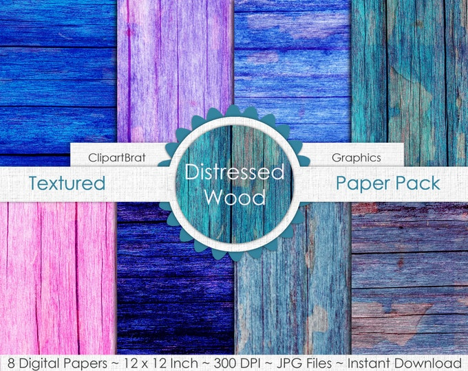 PAINTED WOOD Digital Paper Pack Commercial Use Digital Background Blue & Pink Wood Grain Digital Paper Barn Wood Distressed Wood Papers