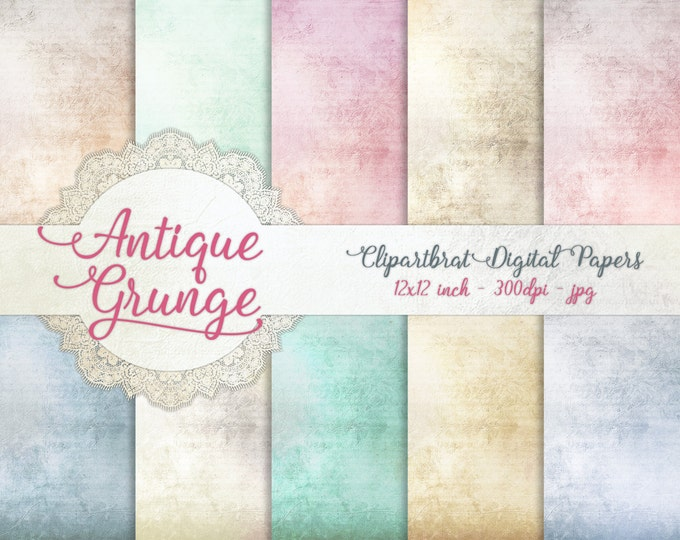 ANTIQUE GRUNGE Digital Paper Pack Commercial Use Digital Backgrounds Romantic Victorian Distressed Digital Background Grunge Textured Papers