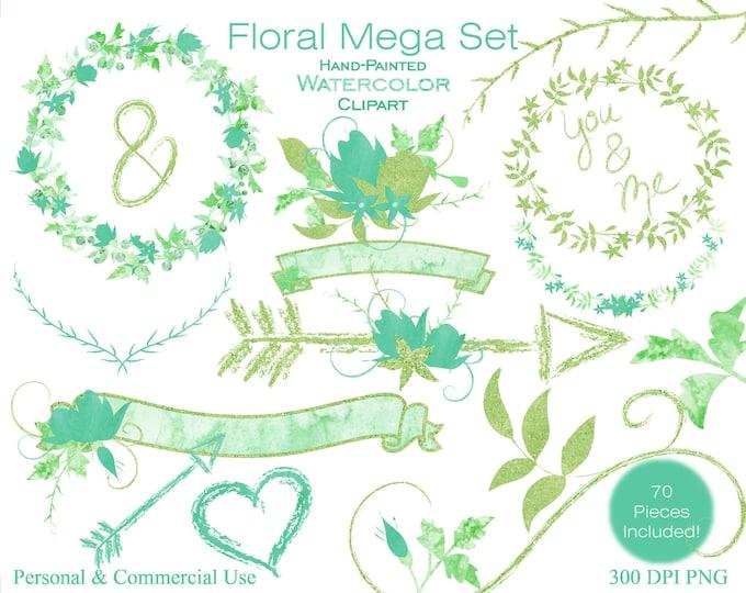 WATERCOLOR FLORAL Clipart Commercial Use Clipart Wedding Graphic Teal & Green Flower Bouquet Mega Set Wreath Banner Arrow Planner Clipart