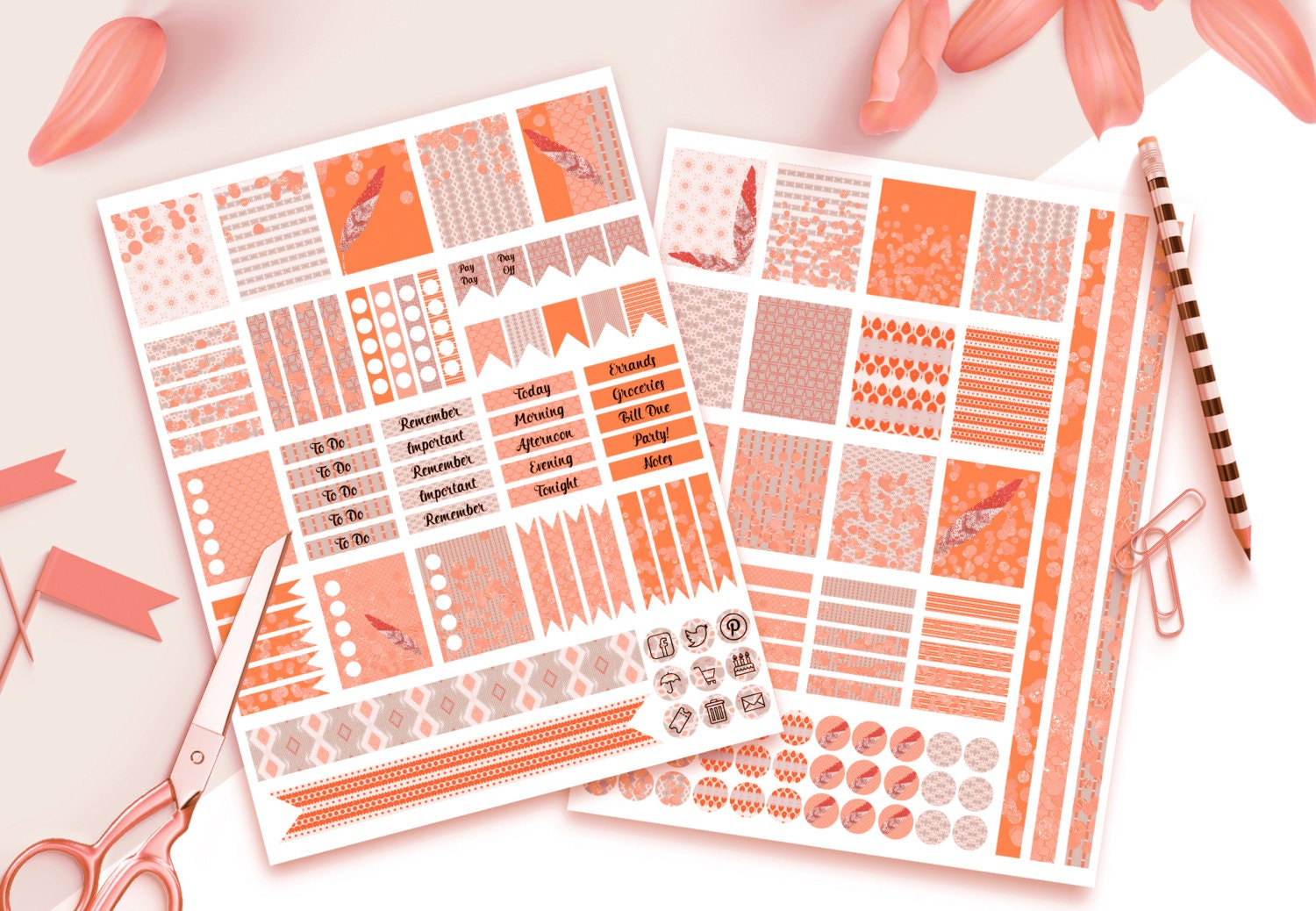 PLANNER STICKER TEMPLATES Commercial Use Blank Diy Sticker ... for Planner Stickers Template  585ifm