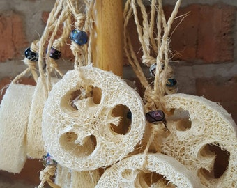 Loofah on a rope, Loofa, Shower Scrub, Natural Loofah, Exfoliating Loofah, Pretty Bathroom Accessory, Exfoliating Scrub