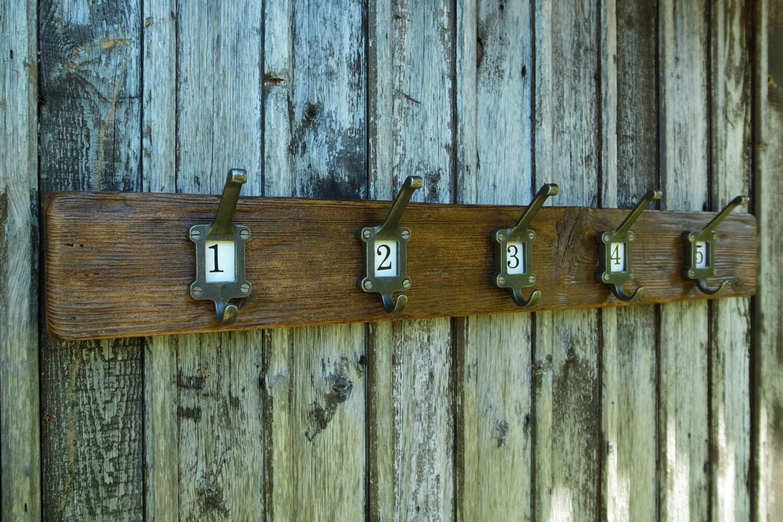Vintage school coat hooks rustic industrial coat rack for Reclaimed wood furniture colorado