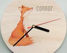 Fox Clock / Woodland Clock / Childs Clock / Personalised Clock / Mr Wolfe Clocks / Personalized Clock / Cute Clock / Nursery Clock