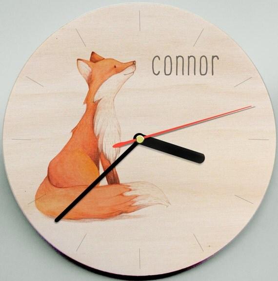 fox clock woodland clock childs clock personalised clock mr