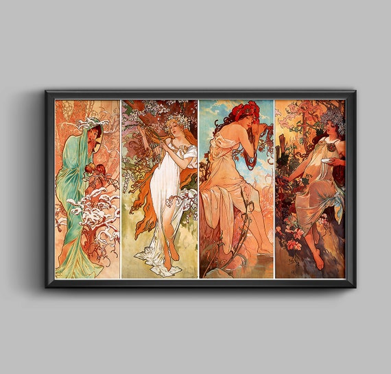 Art Nouveau Vintage Art Mucha Seasons Poster Alphonse