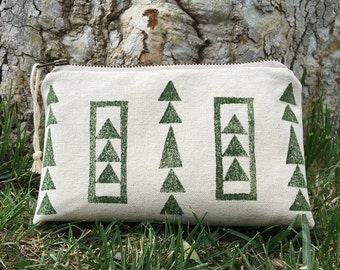 Small Zipper Pouch in Forest Triangles