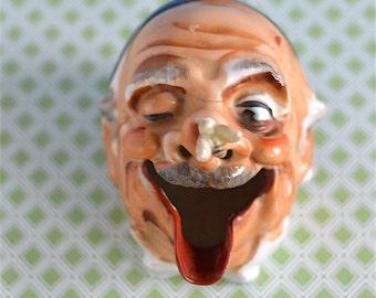 Vintage Man Ashtray Head | Vintage Old Man Smoker Head | Vintage Ashtray