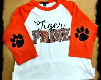 ANY Mascot Pride Raglan 3/4 Sleeve Glitter Tee with Elbow Patches - Bling and glitter steal the show!
