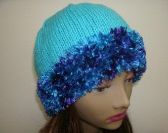 Aqua Faux Fur Brim Hand Knit Hat See Matching Scarf in Shop