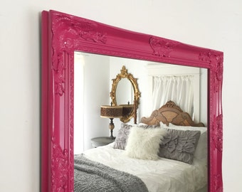 Pink Wall Mirror many sizes available white framed bathroom mirror framed
