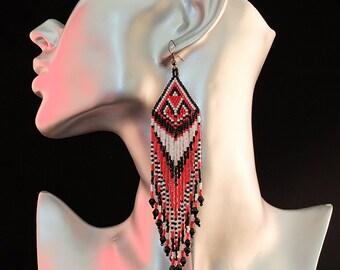 beautiful native American earrings woven beads toho made hand