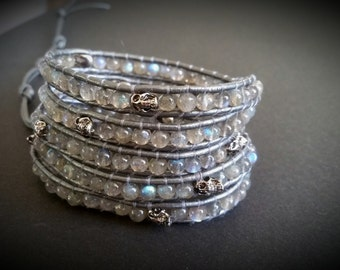 Blue fire Labradorite bracelet, wrap bracelet,beaded leather wrap bracelet,leather wrap bracelet