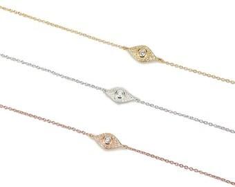 White Eye Bracelet CZ 925 / Sterling Silver