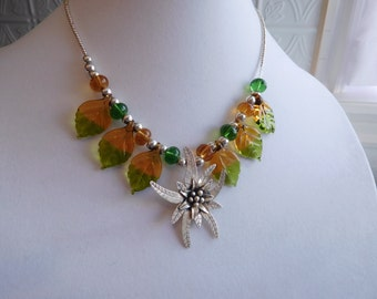 Sterling Silver Flower and Green Leaf Necklace