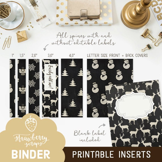 christmas binder inserts holiday chalk 5x set covers spines binder covers
