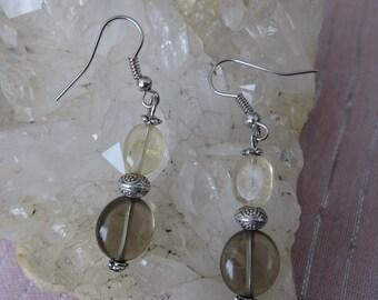 Smokey Quartz Earrings, Citrine Earrings, Smokey Quartz Citrine Earrings, Handmade Smokey Quartz Earrings, Crystal Earrings, Citrine