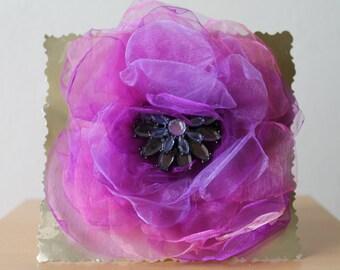 Organza brooch, handmade brooch, flower brooch, large organza flower
