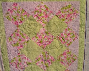 Baby Quilt, Flannel Frogs Baby Girl Quilt, Crib Quilt, Pink and Green