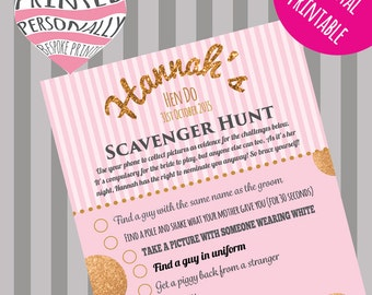 Personalised hen party game - Scavenger hunt - Printable hen do game - Pink and gold glitter - Personalized - Bachelorette party game