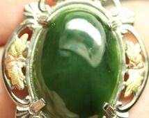 Sterling Silver Flower Leaf Vintage Oval Spinach Jade Stone Pendant
