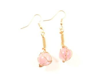Copper Dangle Earrings with Pink Tigerseye Bead