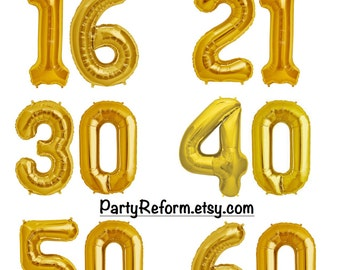 "Milestone Number Balloons 16"" or 34"" Foil ""GOLD"" or ""SILVER"" 16th, 21st, 30th, 40th, 50th, 60th / Set of 2 Balloons / 16"" Air Fill Only"