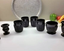 TIARA / INDIANA GLASS Black Diamond Point Vintage Set of 4 Tumblers with Sugar and Creamer and Candle Holders Circa 1970's
