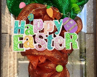 Happy Easter Carrot Mesh Wreath with wooden sign