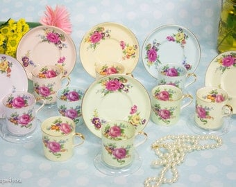 Aynsley Demitasse Cups 6 Sets + 3 extra Cups (15 Pieces) with 6 Clear Displays stand for Cups/Saucers Included