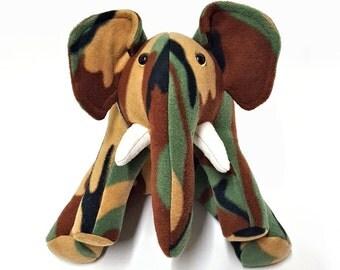 ELEPHANT Plush Green Brown Tan Camouflage
