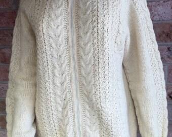 VINTAGE KOTUKU Ivory Cream Fisherman Style Zip Up Cardigan 100% Wool Hand Knitted Sweater sz M