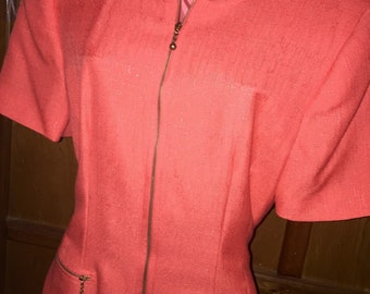 Vintage Zip Front Coral / Salmon Suit Dress Business by KASPER SZ 8