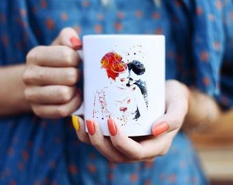 Indian Wedding Mug - Watercolor Mugs - Ceramic Mug - Art Mug - Colorful Coffee Mug