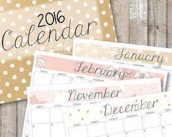2016 Calendar & Cover *Instant Download*