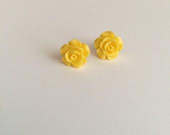 Yellow RoseBud Stud Earrings - HANDMADE